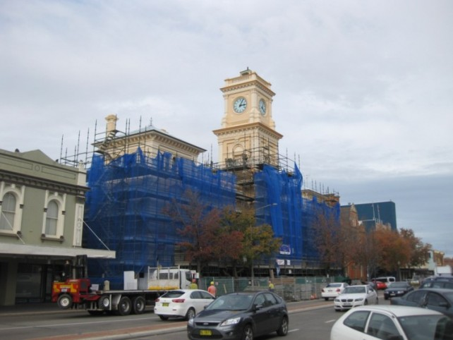 Auburn Street scaffolding during 2012 renovation