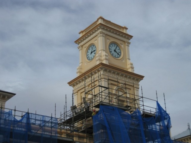 Clock tower during 2012 renovation